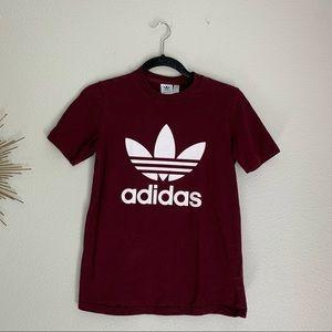 Adidas Maroon Logo Tshirt XS